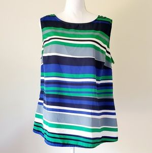 Coldwater Creek Blue/Green Striped Blouse